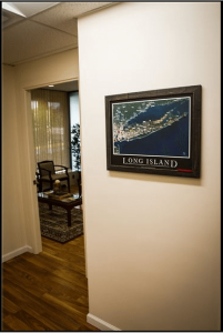 Long Island map displayed in the RHRLI offices.