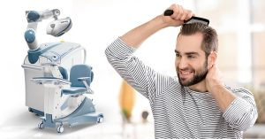 Man combing his hair 5 months after hair transplant