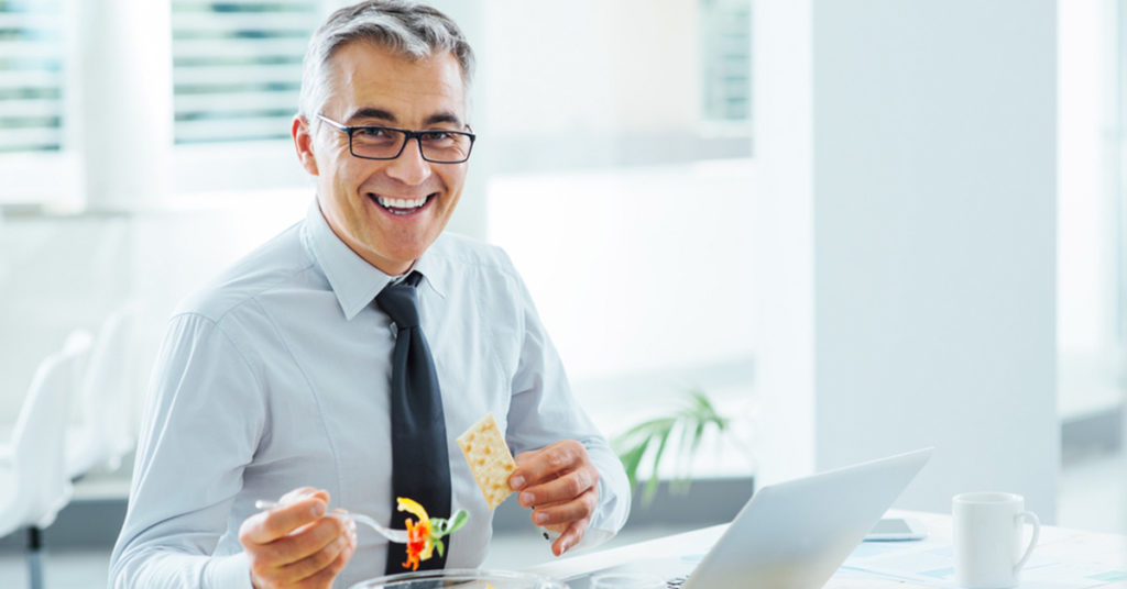 Man eating nutritious meal
