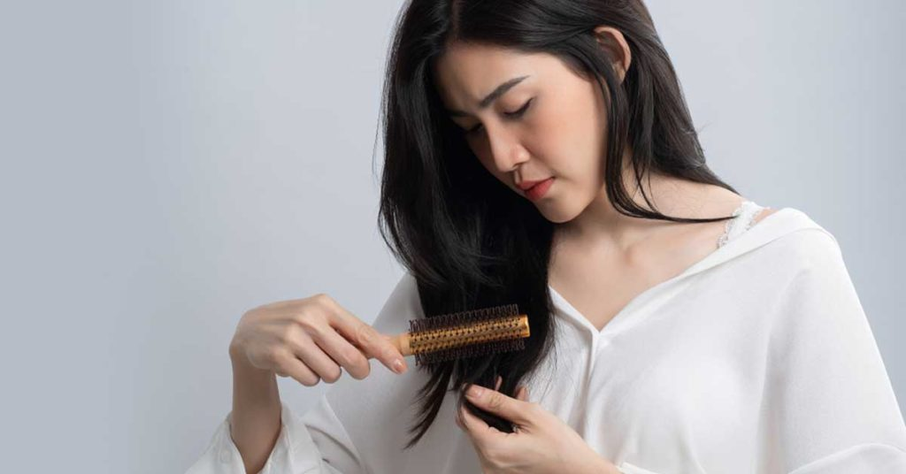 Woman with beautiful soft Korean hair